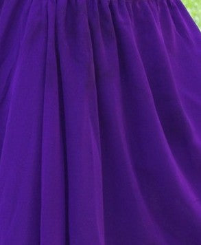 Purple 3 Layer Chiffon Belly Dance Skirt Sequined Edge