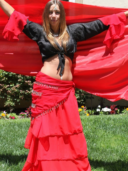 Red Chiffon 3-Layer Belly Dance Costume Skirt