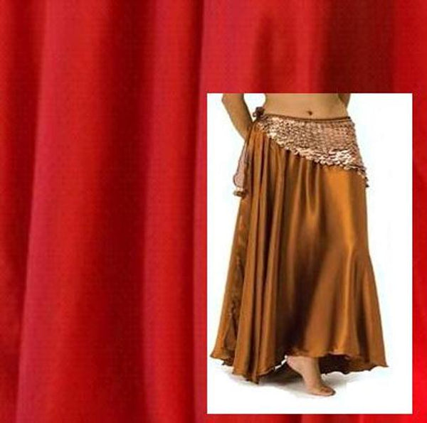 Red Satin Belly Dance Costume Skirt