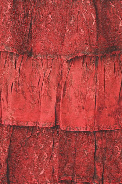 Brick Red 6 Tier Ruffle Gypsy Belly Dance Skirt