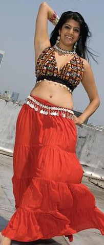 Red Seven 7 Yard Cotton Gypsy Tribal Belly Dance Skirt