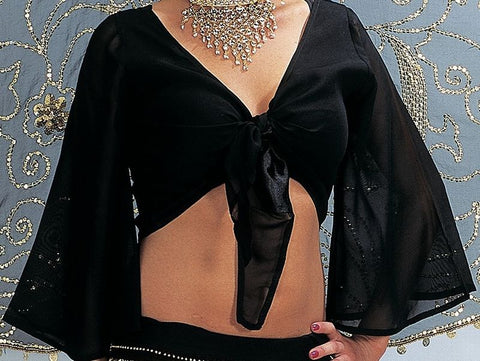black chiffon long sleeve belly dance costume top