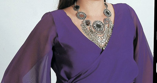 purple chiffon long flowing sleeve belly dance top