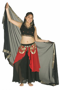 Chiffon and Satin Choli Tie Back Belly Dance Top with Stones and Embroidery