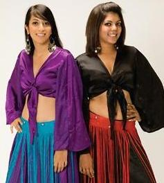 black satin brocade umbrella sleeve tie front belly dance top