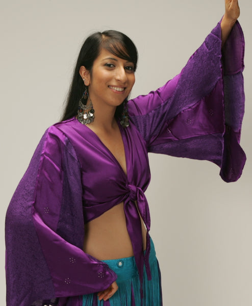 purple satin brocade tie front umbrella sleeve belly dance top