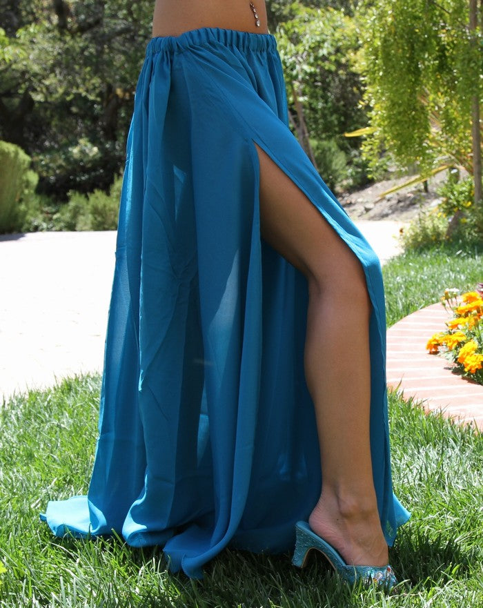 Turquoise Belly Dance Chiffon Slit Skirt