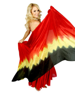 Large Rectangular 3 Yard Red Yellow Black Silk Belly Dance Veil
