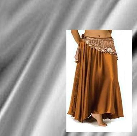 Silver Satin Belly Dance Costume Skirt