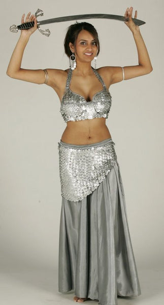 Silver Acrylic Silk Belly Dance Costume Skirt