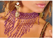 Belly Dance Costume Stretch Beaded Fringe Necklace