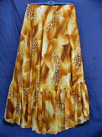 Chiffon Belly Dance Skirt with Leopard and Leaf Print