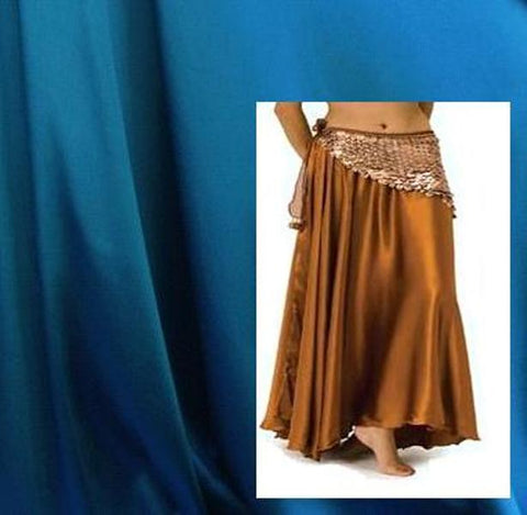 Turquoise Satin Belly Dance Circle Skirt
