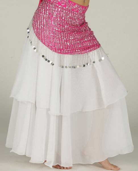 White Chiffon 2 Layer Belly Dance Skirt