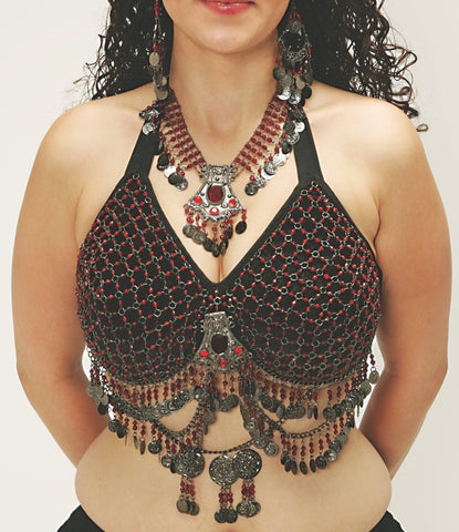 Antique Style Bra, Hip Belt and Necklace Belly Dance Costume Set
