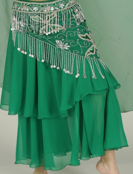 Green Chiffon 2 Layer Belly Dance Skirt