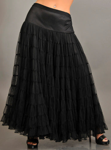 Black Multi Layer Mesh Long Skirt