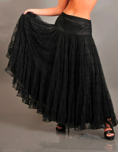 Black Multi Layer Mesh Long Length Formal Skirt