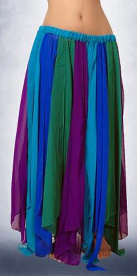 Chiffon Belly Dance Slit Skirt with Jewel Tone Multi Colored Panels