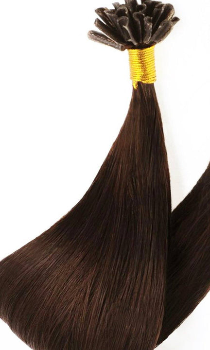 Premium Line Chestnut Flash Brown Keratin Bondings Hair Extensions