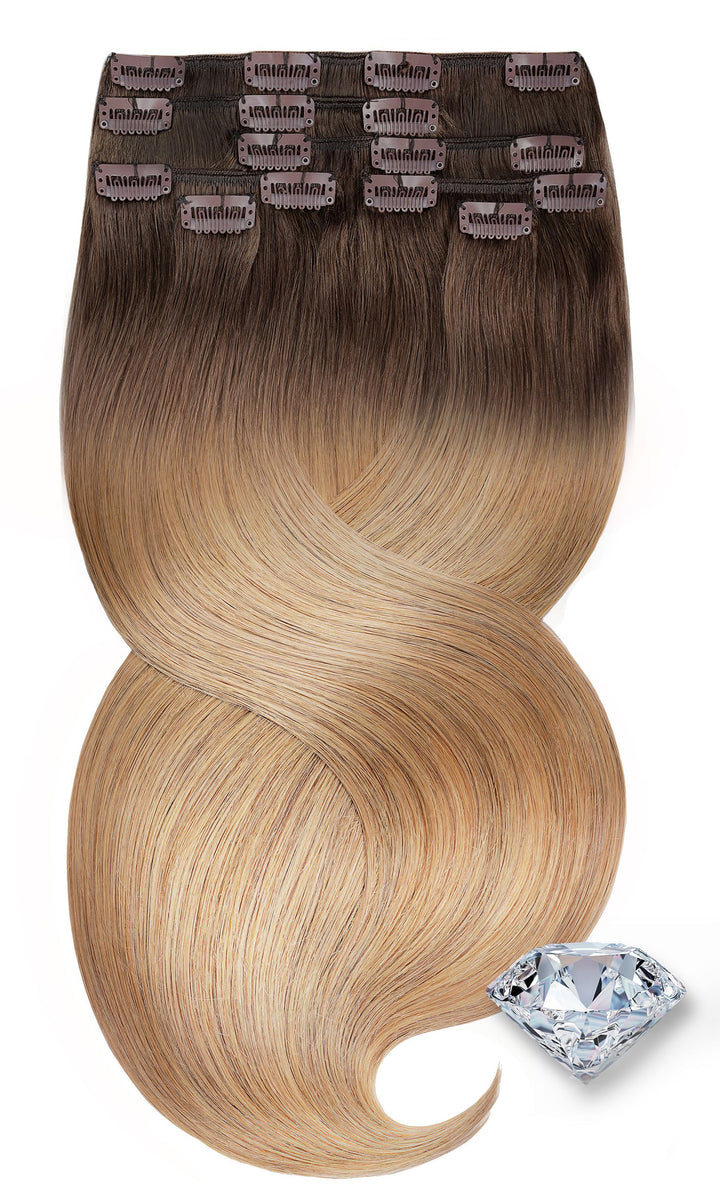 PURE DIAMONDS LINE Caramel Mocca Clip-in Human Hair Extensions
