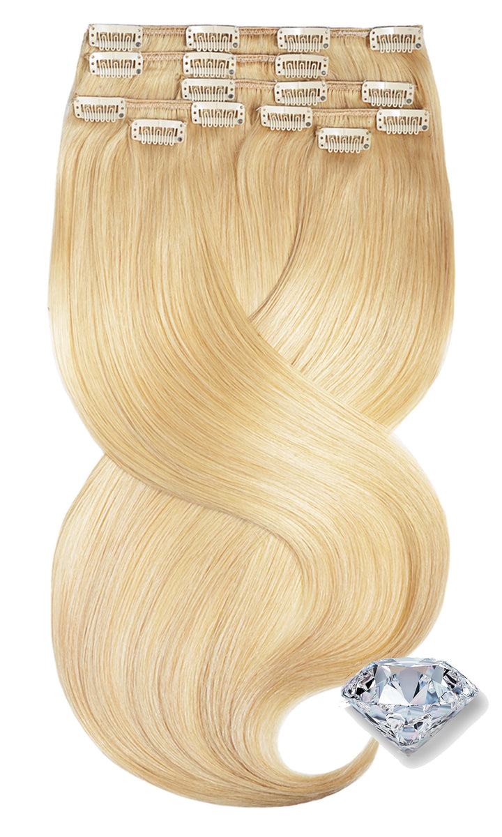 100% Remy Human Hair Clip-in Extensions - Honey  Blonde