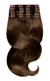 100% Remy Chestnut Flash Brown Clip-in Human Hair Extensions