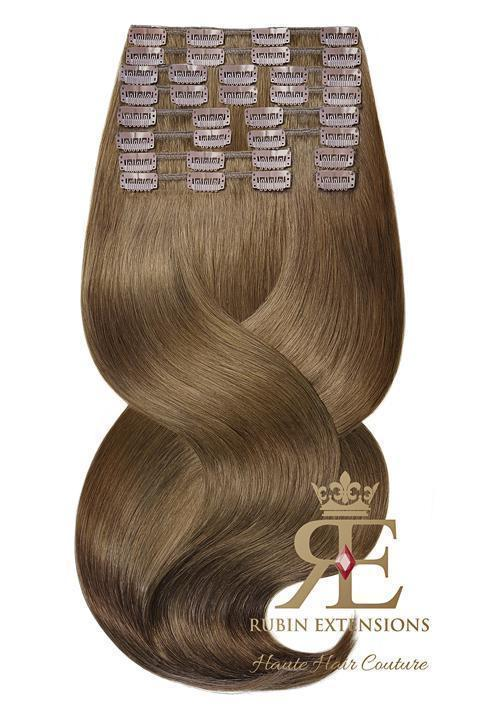 PRO-DELUXE LINE Light Natural Brown Clip-in Human Hair Extensions
