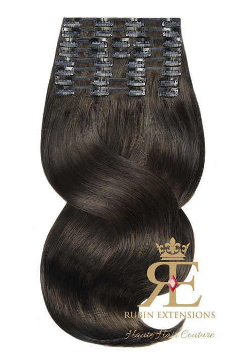 100% Remy Espresso Black Clip-in Hair Extensions