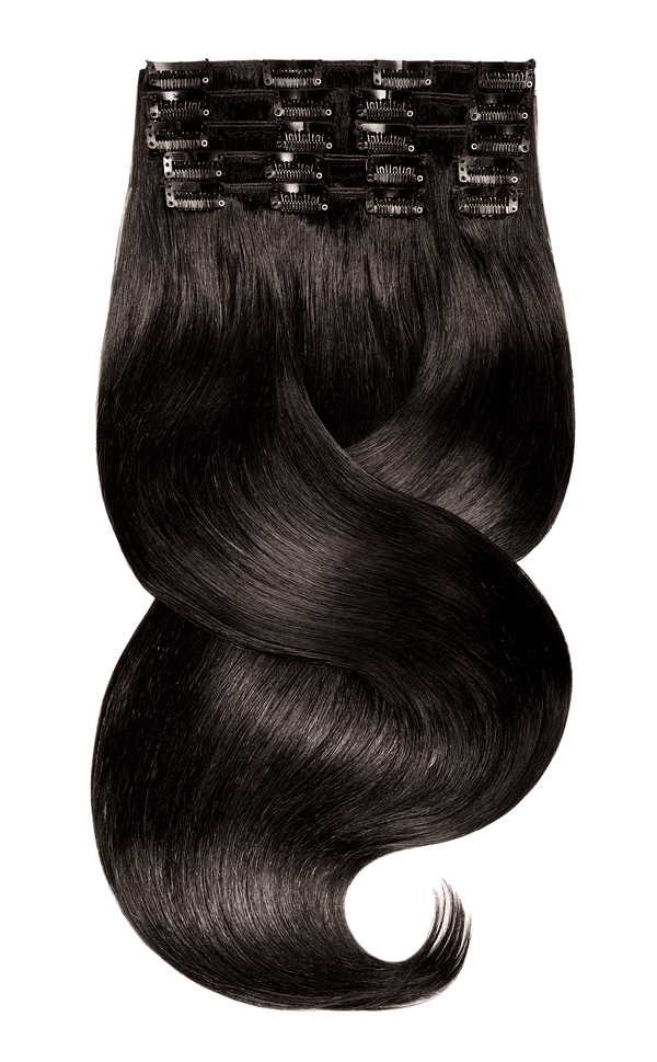 RUBIN LINE Espresso Black Clip-in Hair Extensions - 100% Remy