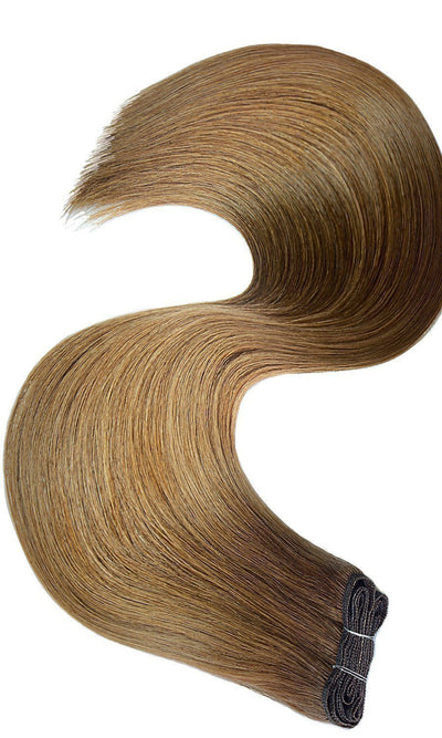 PRO DELUXE LINE Salty Caramel Flat Weft Human Hair Extensions USA