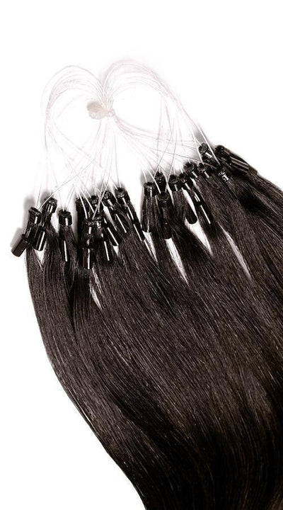 PRO DELUXE LINE Espresso Black Microring Human Hair Extensions USA