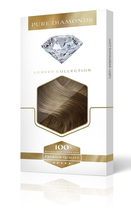 One Piece Hair Extensions -PURE DIAMONDS LINE Light Natural Brown