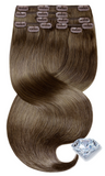 Clip-in Human Hair Extensions - Light Natural Brown Color