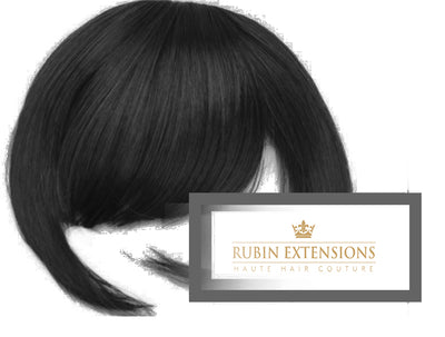 Clip-in Fringe Hair Extenions in Jet Black from Rubin Extensions