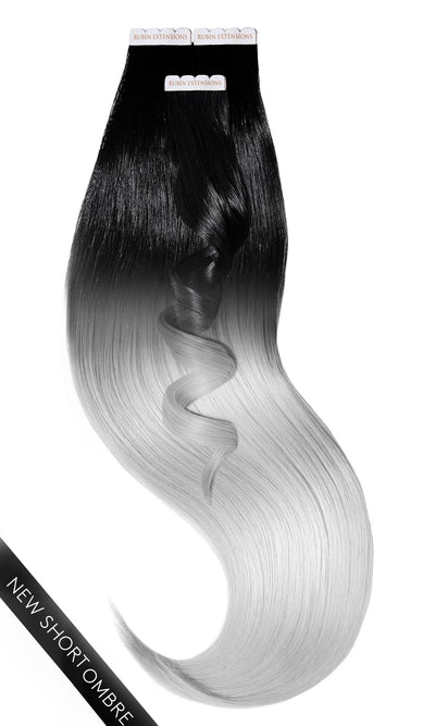 PRO DELUXE LINE OMBRÉ Jet Black & Metallic Silver Blond Tape-in Hair Extensions
