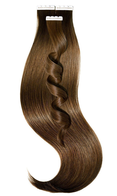 PREMIUM LINE Light Natural Brown Tape-in Human Hair Extensions