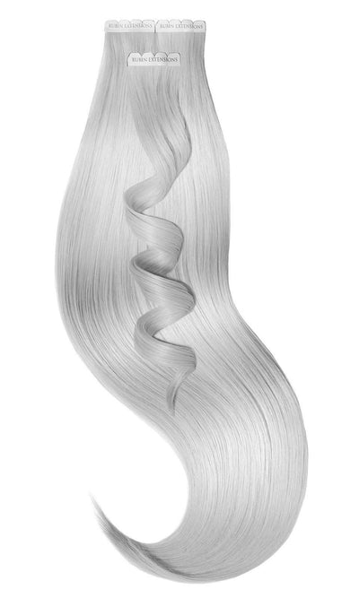 PREMIUM LINE Metallic Silver Blond Tape-in Human Hair Extensions