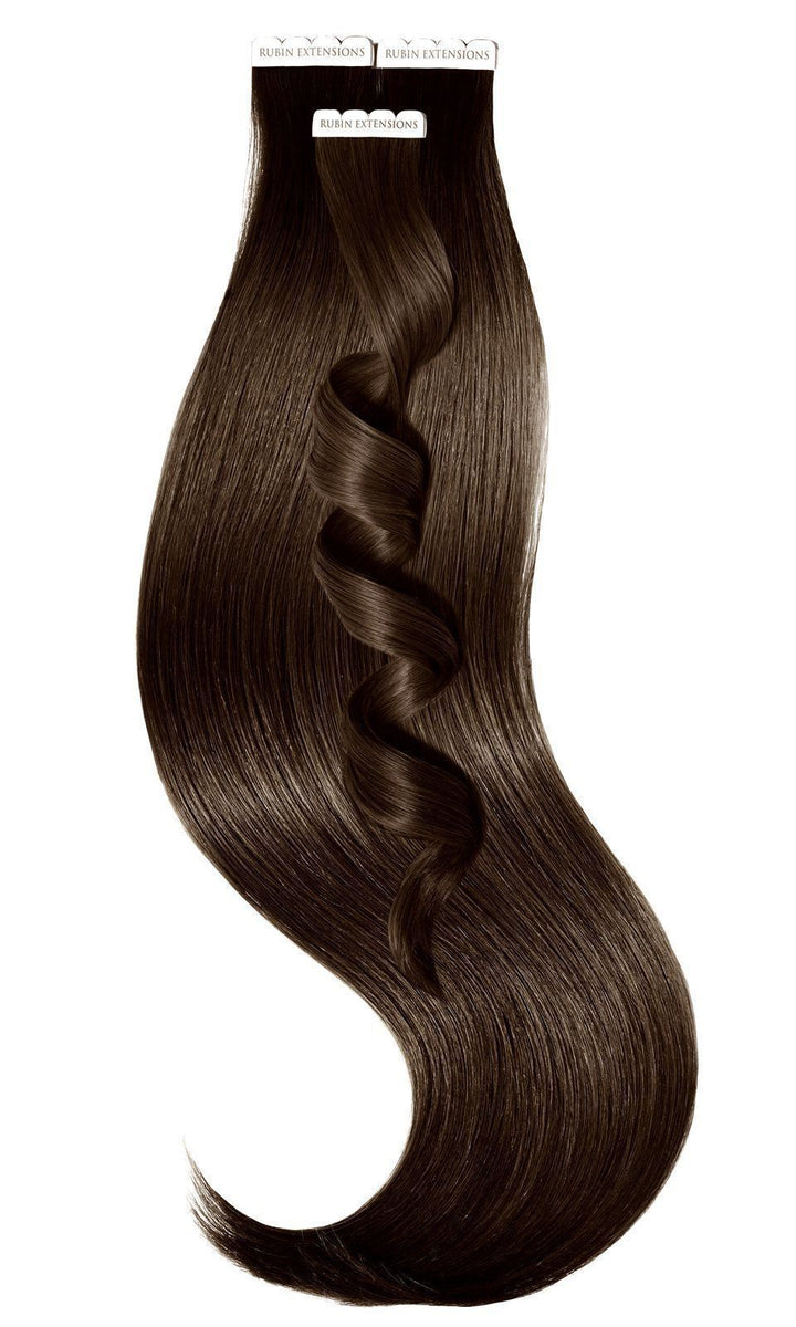 PREMIUM LINE Chocolate Roast Brown Tape-in Human Hair Extensions