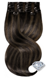 Clip-in Human Hair Extensions - Jet Black and Light Natural Brown Balayage