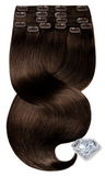 PURE DIAMONDS LINE Chestnut Flash Brown Clipin Human Hair Extensions
