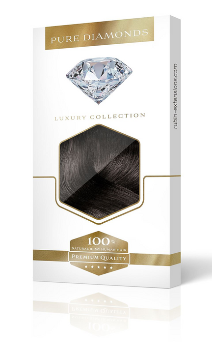 PURE DIAMONDS LINE Espresso Black Clip-in Human Hair Extensions