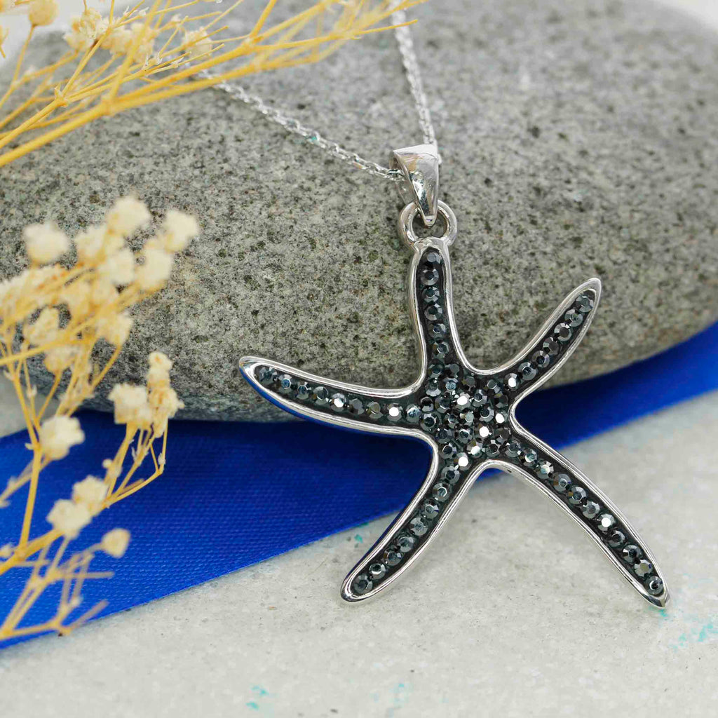 Starfish pendant with crystals from swarovski black starfish pendant with crystals from swarovski with chain aloadofball Gallery