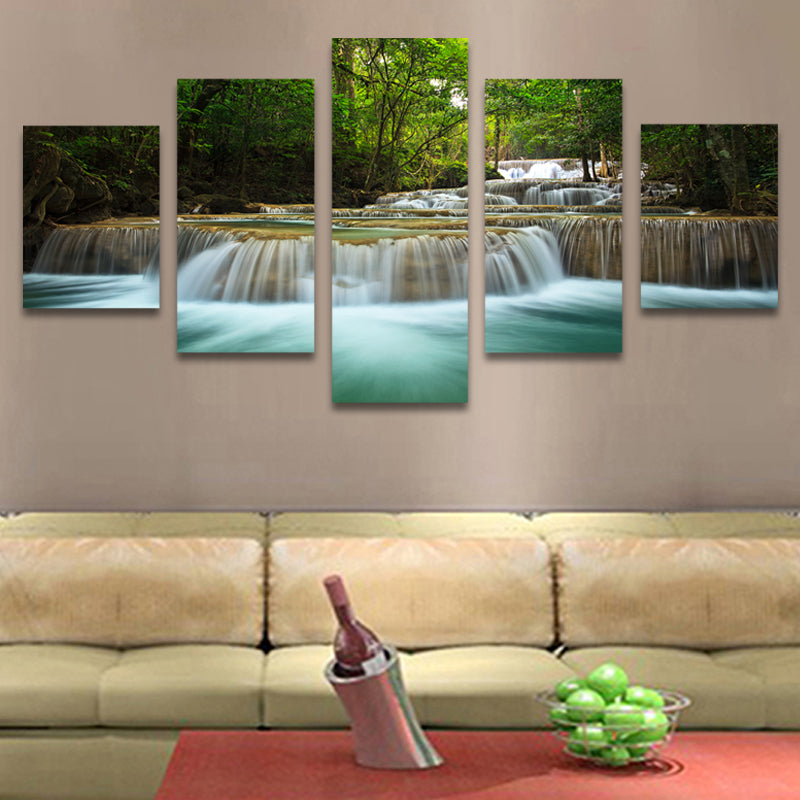 5 Pcs Waterfall Painting Canvas Wall Art Picture Home Decoration ...