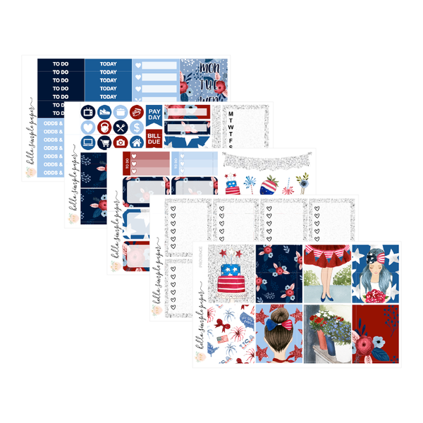 Star Spangled | Weekly Kit - Erin Condren Vertical Stickers