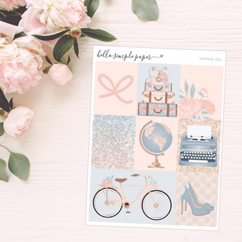 Vintage Gal | Weekly Kit - Erin Condren Vertical Stickers
