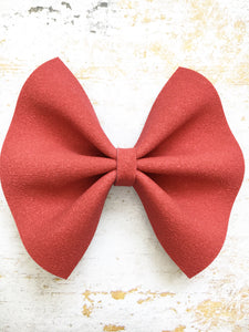 Apple - Red suede bow