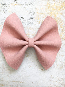 Aster - pink suede bow