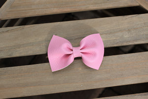 Bubblegum Pink Leather bow - tan nylon headband, baby gift, baby shower gift, baby accessories, toddler accessories, baby girl gift