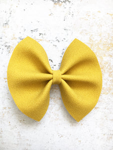 Dawn - Mustard yellow suede bow